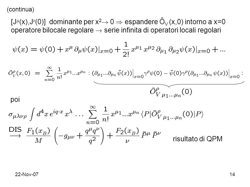 [J(x),J(0)] dominante per x2! 0 ) espandere ÔV (x,0) intorno a x=0